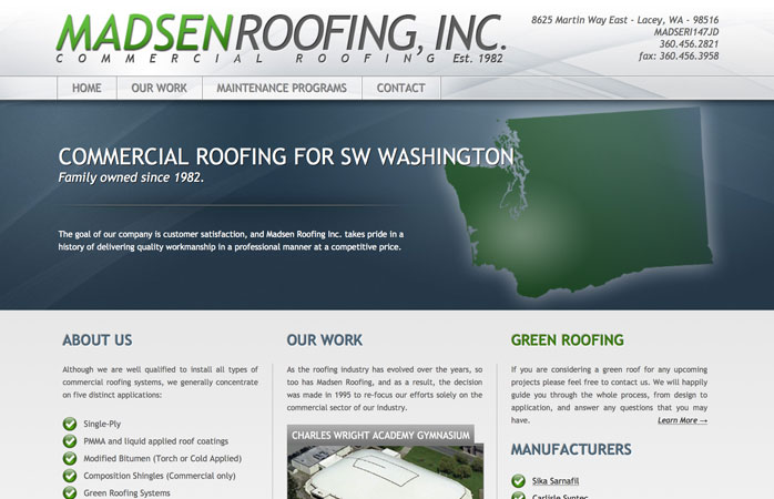 Madsen Roofing's home page