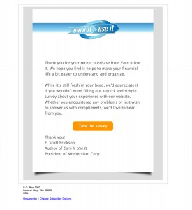 The email template I designed for Earn It Use It correspondence